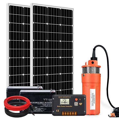 ECO-WORTHY Solar Pump with Battery Backup, 24V Water Well Pump + 2pcs 7Ah Battery + 200W Solar Panel + Controller + 16ft Cable for Remote Watering Garden Farm Irrigation Tank Filling
