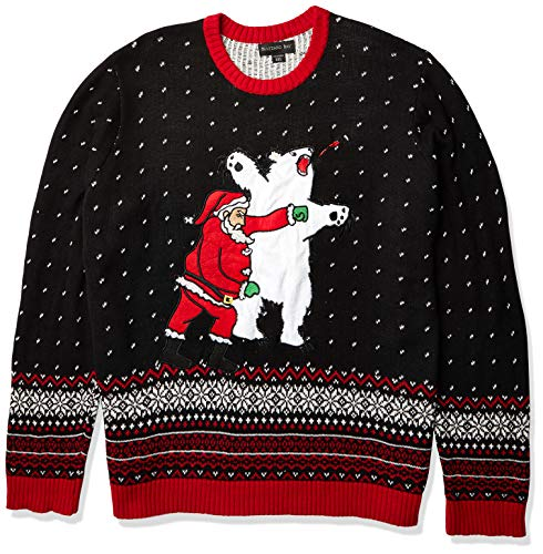 Blizzard Bay Men's Santa Sucker Punch Ugly Christmas Sweater, Black/Red, Medium