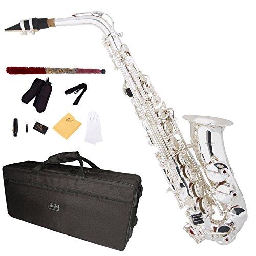 Mendini MAS-30S - Saxofón alto, plateado, afinado en Mi bemol, incluye caja y boquilla