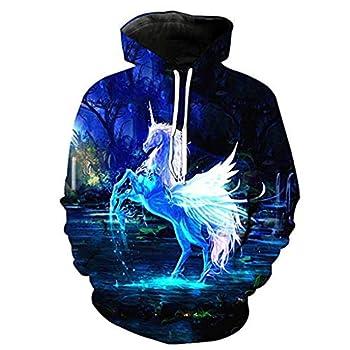 Fartunedo Thin Unisex 3D Print Couple Hoodie Women Men Hooded Sweatshirt Pullover Hoody  XXX-Large Unicorn #A