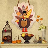 MorTime Thanksgiving Burlap Turkey Door Decor, Decorative Burlap Turkey Wall Front Door Sign Hanger for Fall Autumn Home Office Thanksgiving Decorations