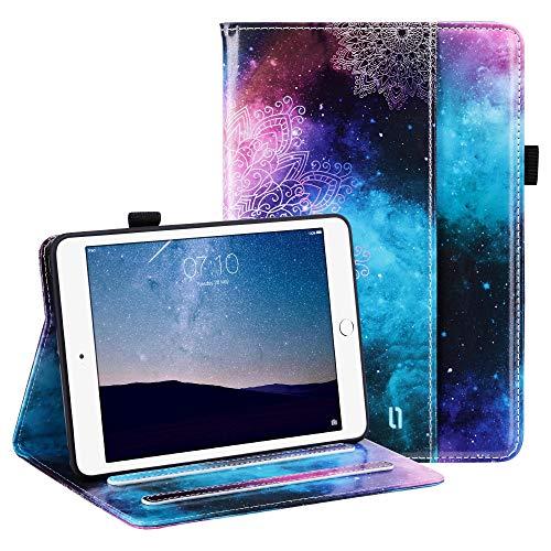 ULAK Funda iPad Mini 1/2/3, Carcasa para Pencil y Card Función Despertador Automático Magnético y Sueño Smart Cubierta Trifold Soporte Caso para iPad Mini/iPad Mini 2/iPad Mini 3 - Mandala