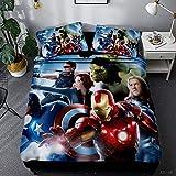 Marvel Comics Bettwäscheset für Jungen mit Spiderman, Captain America, Hulk, Thor, Iron Man und Black Widow, wendbar, A03, 135 x 200 cm