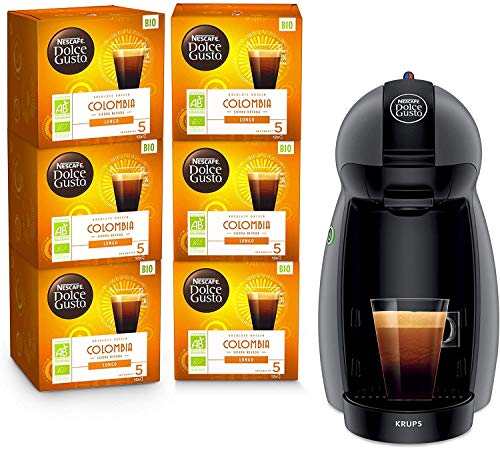 Krups Nescafé Dolce Gusto Piccolo antracita y 6 cajas de café ecológicas Colombia - Cafetera de cápsulas multiusos, Máquina de café para bebidas frías o calientes Y4099FD