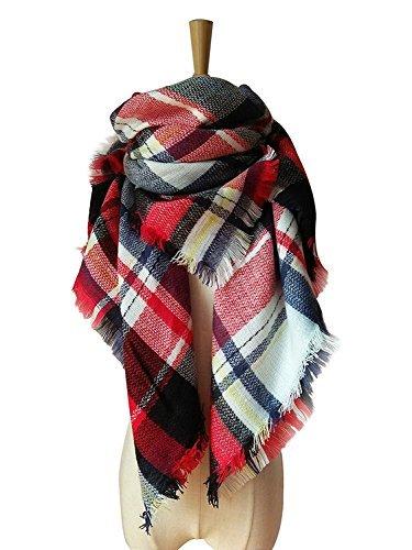 MOLERANI Women's Tassels Soft Plaid Tartan Scarf Winter Large Blanket Wrap Shawl