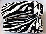 Qutain Linen Twin Size Animal Print Fleece Blanket Leopard Zebra Giraffe Soft Plush Microfiber Throw Blankets (White Zebra)