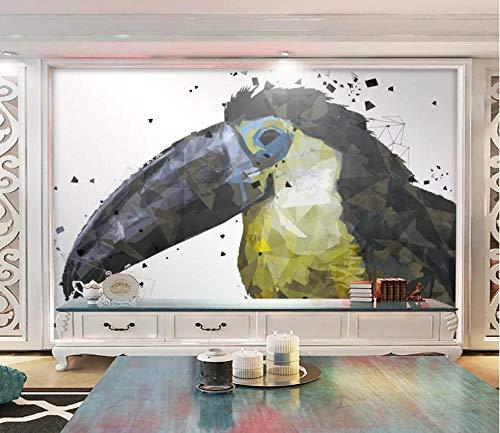 3D behang effecten tukan geometrisch dier fotobehang modern vlies reusachtige afbeelding woonkamer slaapkamer tienerkamer decoratie 200x150CM
