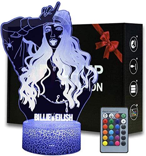 Lámpara de mesa con ilusión 3D, 16 colores cambiantes de luz nocturna con control remoto, regalo de cumpleaños para niños famosos rapero/cantante Billie Eilish