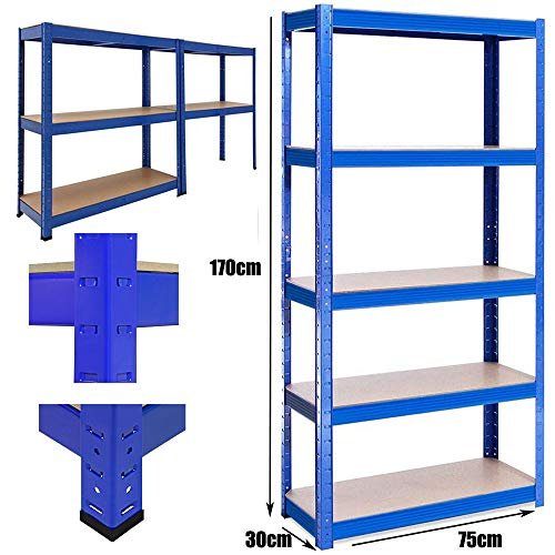 Metallregal Werkstattregal Schwerlastregal Steckregal Lagerregal MDF Regal 5 böden bis 875 kg Traglast 170x75cmx30cm, Blau