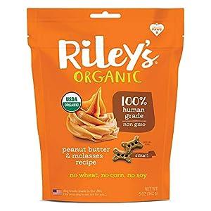 Riley's Organic Dog Treats – Small Bone Peanut Butter & Molasses Dog Treats – Organic, Certified Vegan & Non GMO Project Verified Dog Biscuits – 5 oz