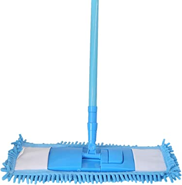 Zibo Chenille Microfibre Floor Cleaning Mop with Telescopic Long Handle (Blue)