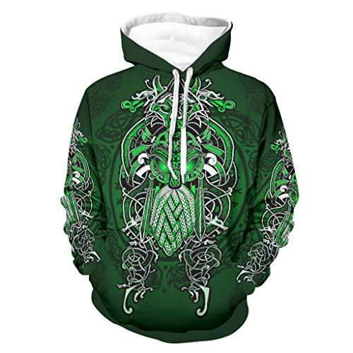 Viking Odin Green - Chaqueta de entrenamiento con capucha para hombre, estilo retro, holgada, color blanco, 2 L