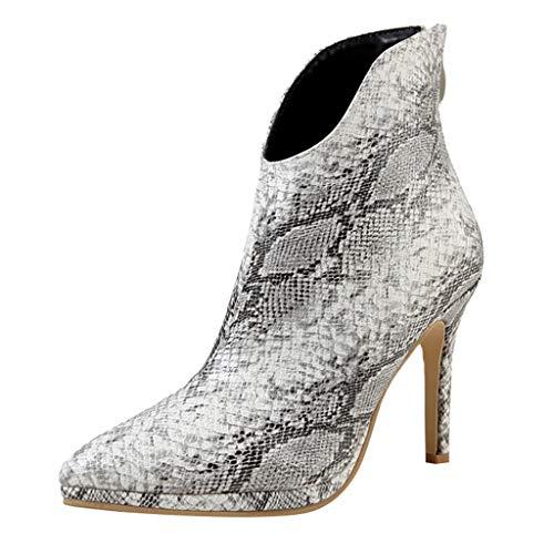 Sale!! ⭐ Futurelove ⭐ Women Winter Leather Mid Calf Boots Zip Snakeskin Pattern Non Slip Pointed...