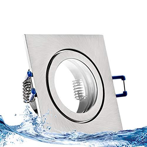 Preisvergleich Produktbild MARE IP44 5er Set LED Bad Einbaustrahler 5W dimmbar extra flach 230V Decken Spot EDELSTAHL OPTIK gebürstet eckig Warm-Weiß (3000k) nur 35 mm Einbautiefe für Bad,  Feuchtraum + außen