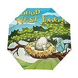 Good Nest Egg - Paraguas de viaje compacto para el aire libre, lluvia, sol, coche, toldo reforzado, protección UV, mango ergonómico, apertura y cierre automático
