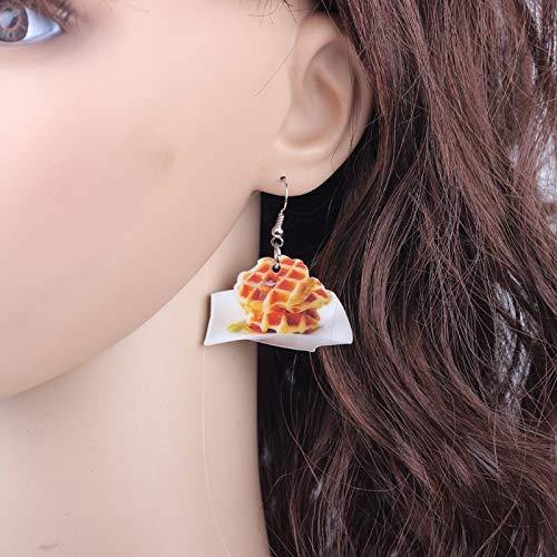 EHXWL 1 para Erdbeer Keks Essen Tropfen Ohrringe Bunte Nette Reizende Druck Acryl Design Sommer Stil Für Mädchen Schmuck