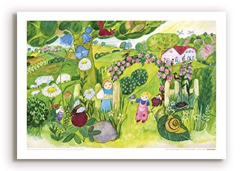 Poster für Kinder von Eva M OTT-Heidmann - Blumenpracht am Gartentor - aus Dem schnurverlag