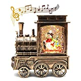 IIDEE Lighted Christmas Snow Globe Lantern, Snowman in Musical Train Battery Operated LED Water Glitteringwith 6H Timer