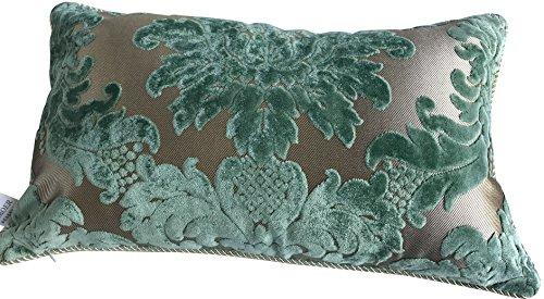HYSENM Kissenhülle Samt Jacquard Weich Hautfreundlich mit Reißverschluss Kissenbezug für Sofakissen Dekokissen Autokissen Zierkissen Pillow Case, Grün 2 30x50cm