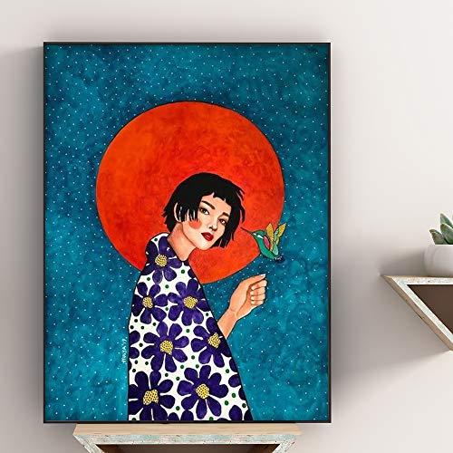 yhyxll Abstrakte Bunte Mädchen Wandkunst Leinwand Malerei Nordic Poster Blume Haar Bilder Wandbilder Für Wohnzimmer Vintage Ungerahmt A 50X70cm