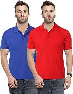 Camfoot Men's (Polo_3_5) Multicolor Pack of 2 Poly Cotton Collar & Plain Comfort Regular Slim Fit T-Shirt