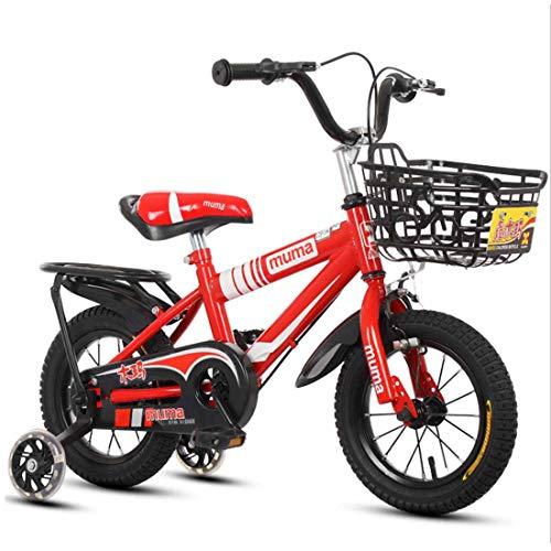 MUYU 12(14,16,18) Inch Kids Bike voor 3-10 Jaar Oude Meisjes, Fiets met Front Basket & Training Wielen