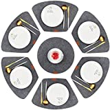 Aonewoe Felt Place Mats Heat Resistant Machine Washable Wedge Table Mats for Round Table Set of 7 (Deep Grey)