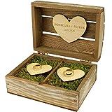 Ringbox aus Holz Box Hochzeit Ringkissen Hochzeit Mit Gravur Gravierte Ringträger Für Ringe Mit Namen Und Datum Trauung