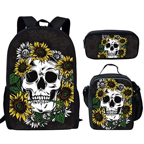 JEOCODY Sunflowers Skull Kids School Backpacks Set Lunch Container Box Pencil Case for Boys Girls 3PCS