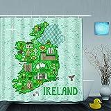 MANISENG Duschvorhang,Karte von Irland Reisen mit irischen Schlössern Menschen Symbole traditionelles Essen,personalisierte Deko Badezimmer Vorhang,mit Haken,180 * 210