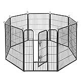 FEANDREA Welpenauslauf Welpenlaufstall Tierlaufstall Freilaufgehege Hundelaufstall Welpenzaun Absperrgitter Zaun Gitter Welpen Hasen Kaninchen 8-Eck grau 77 x 100 cm PPK81G