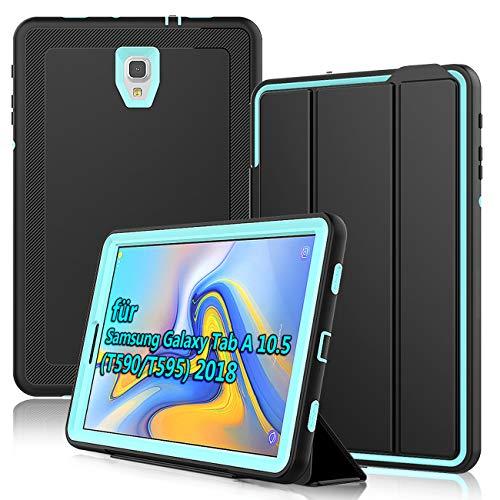 DAORANGE Hülle für Samsung Galaxy Tab A 10.5 SM-T590/T595, Stoßfeste Schutzhülle Smart Hülle Cover mit Auto Schlaf/Wach Funktion Standfunktion für Samsung Galaxy Tab A 10.5 Zoll 2018(Schwarz+Hellblau)