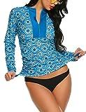 Balancora Femme Manches Longues Maillot de Bain Rash Guard Coupe ajustée vêtements de Protection Solaire Vêtements de Surf T Shirt de Surf Longue
