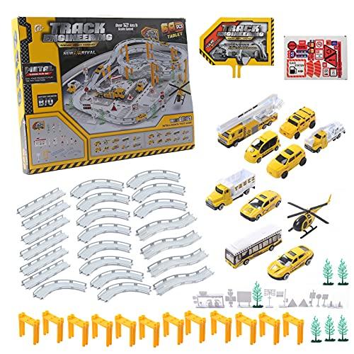 Ingeniería de construcción Pistas de coches Montaje de juguete Pista de vehículo de juguete para niños 22 x Pista 2 x Vehículo todo terreno .(Juguete de pistas de coche de ingeniería)
