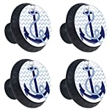 LORVIES Nautical Anchor Drawer Knob Pull Handle Crystal Glass Circle Shape Cabinet Drawer Pulls Cupboard Knobs with Screws for Home Office Cabinet Cupboard (4 Pieces)