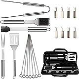 gaoominy 20pcs bbq grill accessoires outils set, kit de grillage en acier inoxydable avec étui en tissu oxford pour camping/cuisine, ustensile de barbecue pour hommes femmes