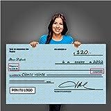 Cheque Gigante 120x70cm| Decoración Fiesta| Premio Concurso| Divertido Cheque