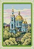 Punto de cruz Kit Bordados para niños y adultos,Paisaje arquitectónico ruso,16 x 20 pulgadas DIY costura punto de cruz set decoración de pared principiante(11CT)