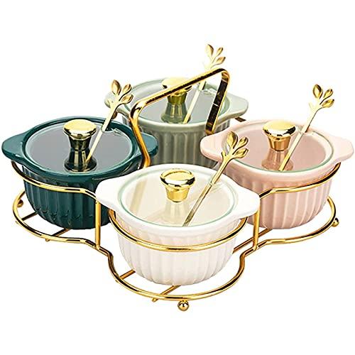 Combinazione di contenitori per la Cucina Set di scatole per condimenti in vasetto di spezie in Ceramica con Coperchio Cucchiaio Rimovibile e Facile da Pulire può Contenere Sale Pepe (Set di