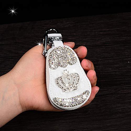 IOIOA Stilvolle DIY Crown Starry · Strass Auto-Schlüsselkasten, hochwertige Leder-Metallreißverschluss-Universalauto-Schlüsselkasten mit Schlüsselring,Weiß