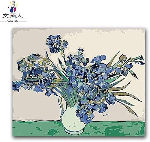 Envío y cambio gratis. KYKDY Plante flores flores flores de bricolaje pintura por números estilo abstracto, monet iris pintura en lienzo Coloración por números para la decoración de la sala, 60023,40x50 con marco  tienda en linea