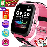 [Free SIM Card Included] Smart Watch for Kids - GPS Smartwatch for 3-12 Year Kids Boys Girls with GPS Tracker Locator SOS Anti- Lost Call Camera Touch Children Learning Toy Easter Holiday Great Gifts