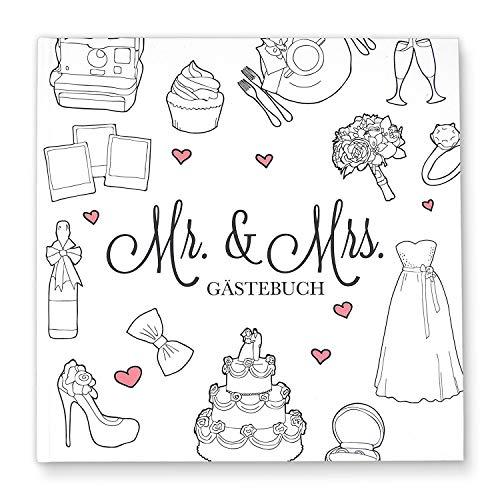 Cupcakes and Kisses - Livre d'or de mariage Mr & Mrs - Neutre à remplir individuellement - Décoration - 144 pages blanches - Carré - Livre photo blanc