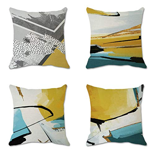 AZZXZONa Cushion Covers Cotton Linen 18X18 Inch/45X45 Cm, Decorations Throw Pillow Cover Geometric Marble Block Furniture Sofa Couch Bed Chair 4 Pack Set