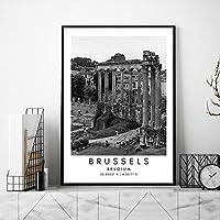 ベルギー黒白ポスターブリュッセル旅行キャンバス絵画インテリア風景座標壁アートパネル都市風景写真北欧版画リビング ルーム部屋モダン装飾画