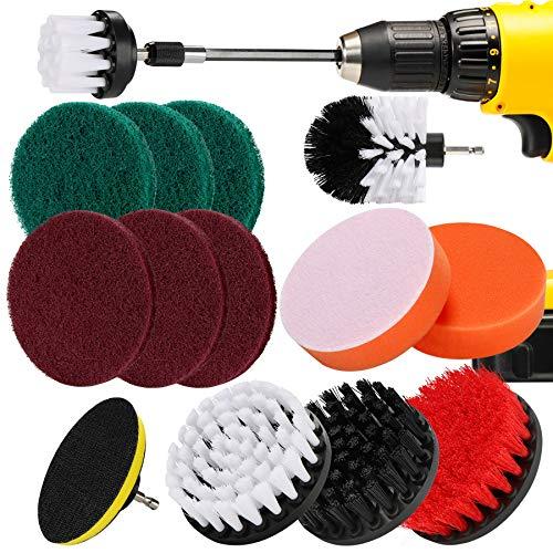 Kit de accesorios de cepillo de taladro de 15 piezas, cepillos de...