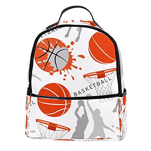 KAMEARI Mochila para la escuela Dibujado a mano Baloncesto Casual Daypack para viajes con bolsillos laterales de botella