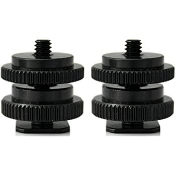 4 Packs Screw SHGO-Black Metal Cold Shoe Flash Stand Adapter with 1//4-inch 20 Tripod Screw
