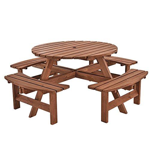Hodiso Holz Rund 8-Sitzer Picknicktisch - Holz Bank Sitze 8