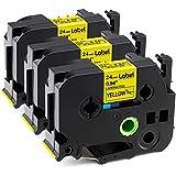 Label KINGDOM Compatible Label Tape Replacement for P-Touch TZe-651 TZe651 TZ651 TZ-651 Label Tape, Black on Yellow, 24mm x 8m, 0.94 Inch x 26.2 Feet, Work with PT-D600 PT-D600VP Label Maker, 3-Pack